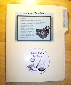 Number Muncher File Folder Math, Place Value Greater & Less Than Equal To Game