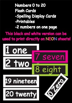 Number Names 0 - 20 Flash Cards, Black and White