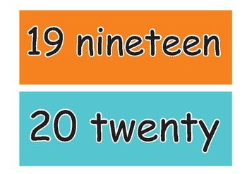 Number Names 0 - 20 Flash Cards, Spelling Display Cards