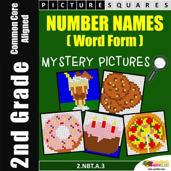 2nd Grade Place Value - Word Form / Number Names Worksheets, Mystery Pictures