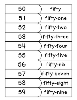 Number Names 50-100 Match Game