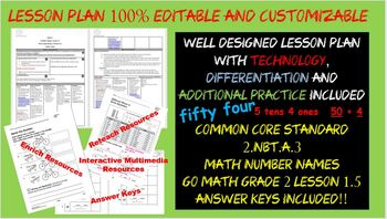 Number Names Grade 2 Go Math Lesson 1.5 w/ Differentiation + Freebies Editable