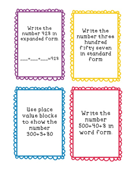 Number Names Task Cards