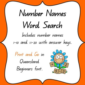 Number Names Word Search 1-10 & 11-20