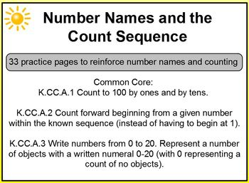 Number Names and Count Sequence PreK K Promethean K.CC.A.1