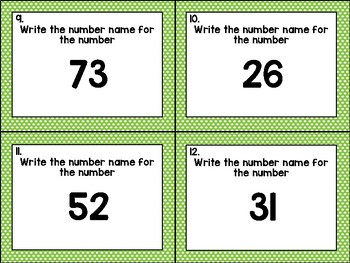Number Names to 1000 Task Cards