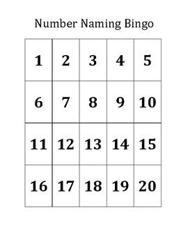 Number Naming Bingo