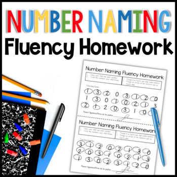 Number Naming Fluency Homework (English/Spanish)