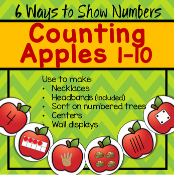 APPLES Counting to 10 - Make Necklace, Headband, Trees - 6 Ways to Show Numbers