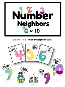 """Number Neighbors 0-10 / Eleven 4"""" x 5"""" Digit and Number in Word Form Cards"""