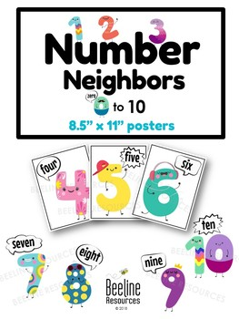 """Number Neighbors 0-10 / Eleven 8.5"""" x 11"""" Digit and Number in Word Form Posters"""