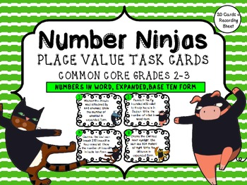 Number Ninjas! Place Value Multiple Forms Task Cards/ Center Pack