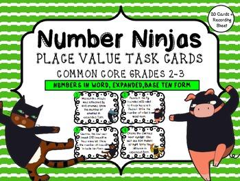 Number Ninjas! Place Value Multiple Forms Task Cards/ Center Pack