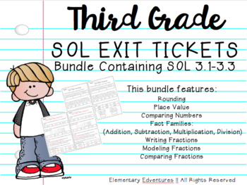 Number & Number Sense Exit Tickets Bundle: SOL 3.1-3.3