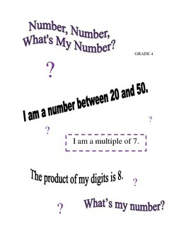 Number, Number, What's My Number? - Grade 4