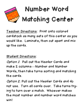 Number & Number Word Matching Center- 2 and 3 digit tens- hundreds- Place Value