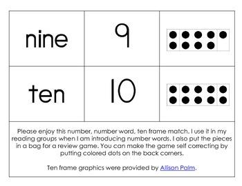 Number, Number Word, Ten Frame Match {0-10}