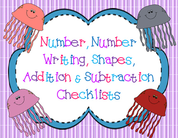 Number, Number Writing, Shapes, Add & Subtract Check Off Assessment Sheets