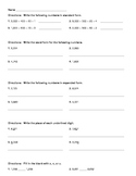 Number Operations Assessment