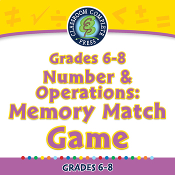 Number & Operations: Memory Match Game - NOTEBOOK Gr. 6-8
