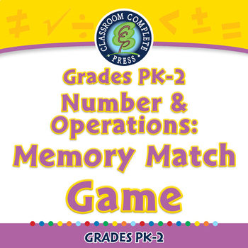 Number & Operations: Memory Match Game - NOTEBOOK Gr. PK-2