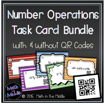 Number Operations Task Card Bundle - With & Without QR Codes