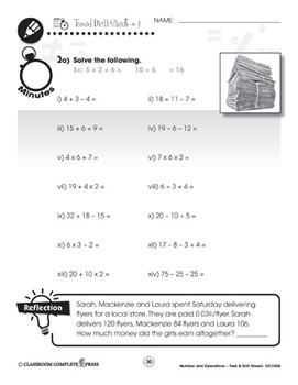 Number & Operations - Task & Drill Sheets Gr. 3-5 - Canadian Content