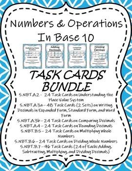 Number & Operations in Base 10 Task Cards / Scoot Bundle - Grade 5 (5.NBT)