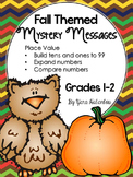 Number & Operations in Base Ten {Place Values} Mystery Messages Fall Themed G1