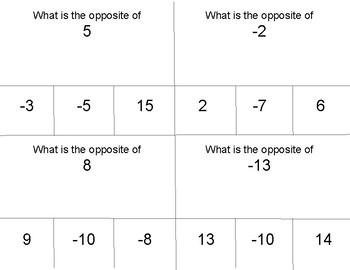 Number Opposites Task Cards