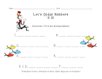 Number Order (1-10 and 1-20) with Dr. Seuess