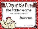 Number Order 1-22 A Day at the Farm Math File Folder Game Kindergarten