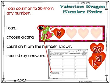 Number Order 1-30 Valentine's Day Task Cards File Folder Game Math Center