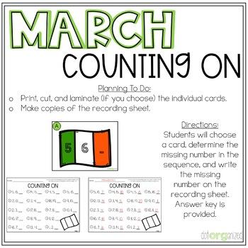 Number Order Counting Forward Kindergarten March Math Center