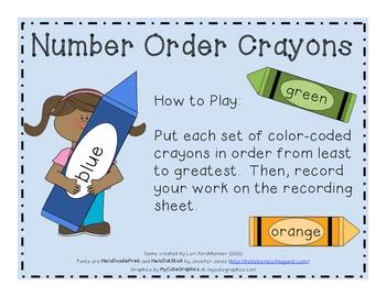 Number Order Crayons