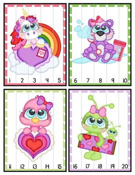 Number Order Puzzles 1-30 Valentine's Day File Folder Game Math Center