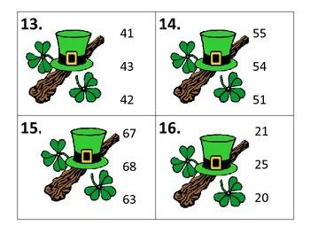 Number Order Task Card Center---St. Patrick's Day Theme