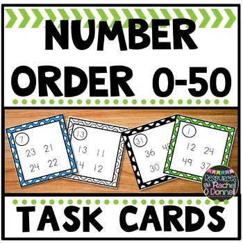 Number Order Task Cards Differentiated 0 - 50