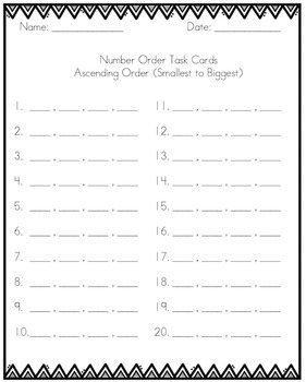 Number Order Task Cards Differentiated 50 - 100