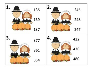 Number Order (Three Digit Numbers)  Thanksgiving Theme