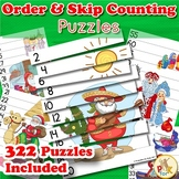 Number Order and Skip Counting Puzzles - Christmas Theme