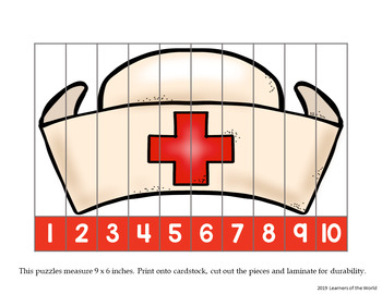 Number Order and Skip Counting Strip Puzzles - Community Worker Hats