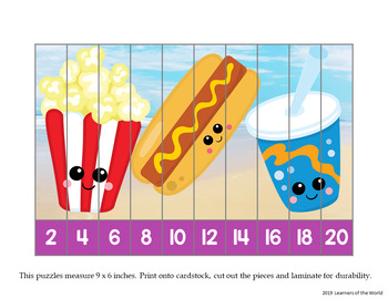 Number Order and Skip Counting Strip Puzzles - Food Pairs