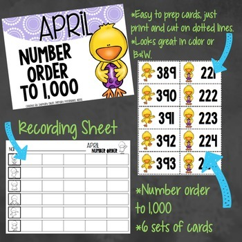 Number Order to 1,000 Activity Bundle