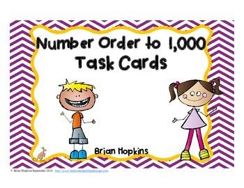 Number Order to 1,000 Task Cards
