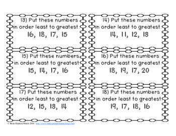 Number Order to 20 Task Cards