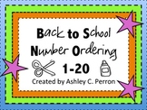Number Ordering 1-20, Back to School Theme