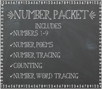 Number writing and counting practice 1-9