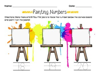 Number Painting- Number Recogniton & Writing Worksheet Number- Number