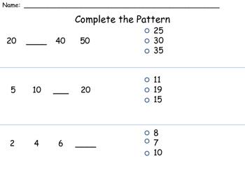 Number Pattern Assessment